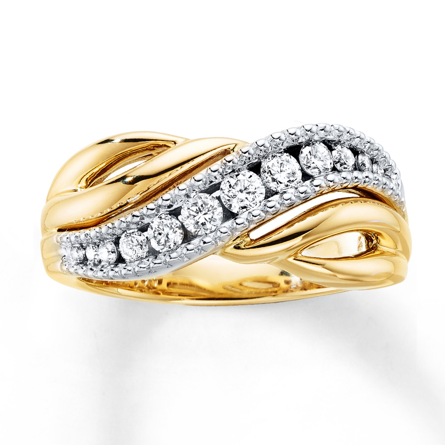 Diamond Ring 3/8 Ct Tw Round-cut 10K Two-Tone Gold