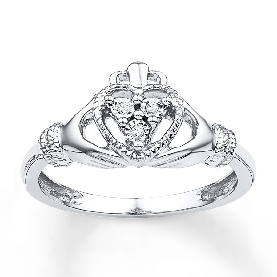 Claddagh Ring Diamond Accents Sterling Silver 2361470699
