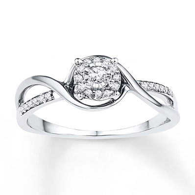 Diamond Promise Ring 1/8 ct tw Round-cut Sterling Silver Ring | Tuggl