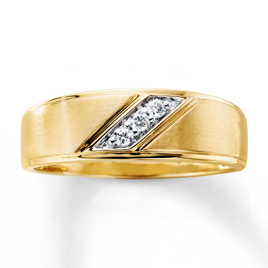 Men S Diamond Wedding Band 1 10 Ct Tw 10k Yellow Gold