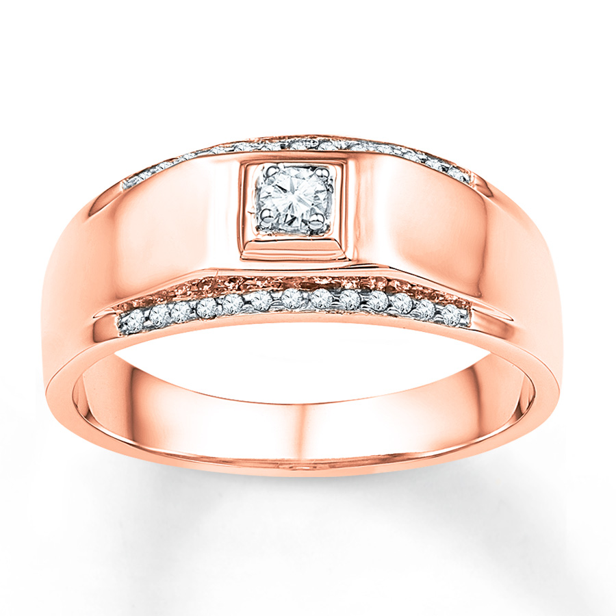 sterlingjewelers men 39 s wedding band 1 6 ct tw diamonds 10k rose gold. Black Bedroom Furniture Sets. Home Design Ideas