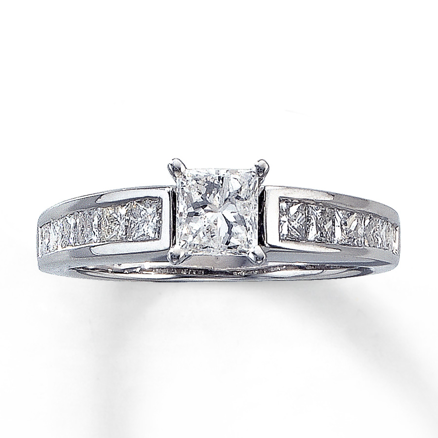 c050a9a23 Diamond Engagement Ring 1-1/4 ct tw Princess-cut 14K White Gold. Tap to  expand