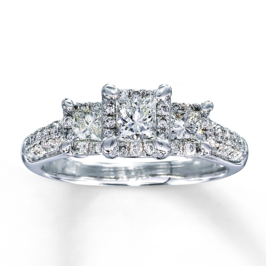 f6ad391ab Diamond Engagement Ring 1 ct tw Princess-cut 14K White Gold. Tap to expand