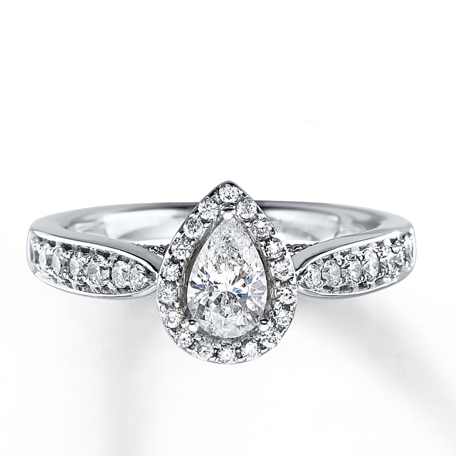 diamond engagement ring 1 ct tw pear-shape 14k white gold - 80532118