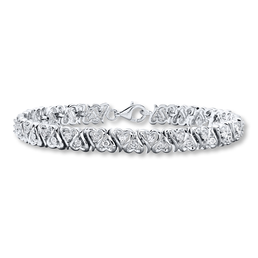 Diamond Heart Bracelet 1 10 Ct Tw Round Cut Sterling