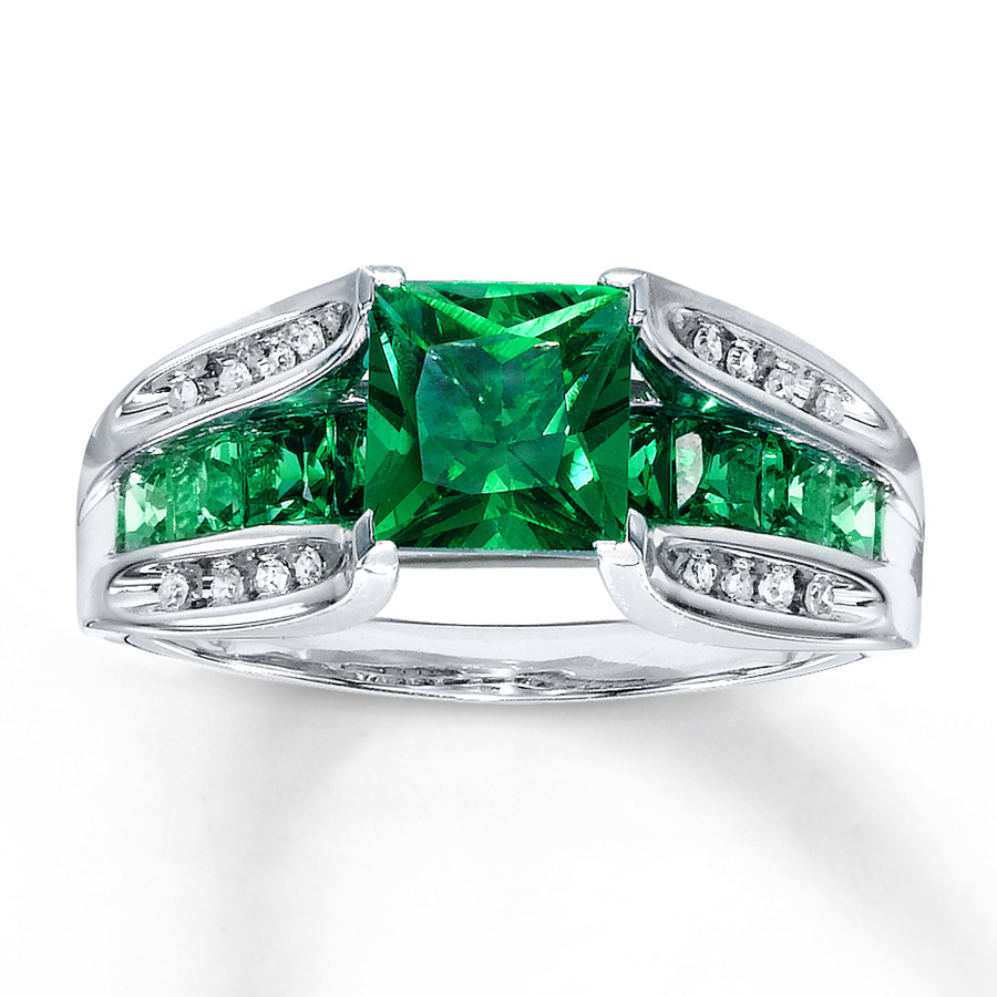 Lab-Created Emerald Ring Diamond Accents 10K White Gold