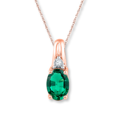 Lab Created Emerald Diamond Accent 10k Rose Gold Necklace