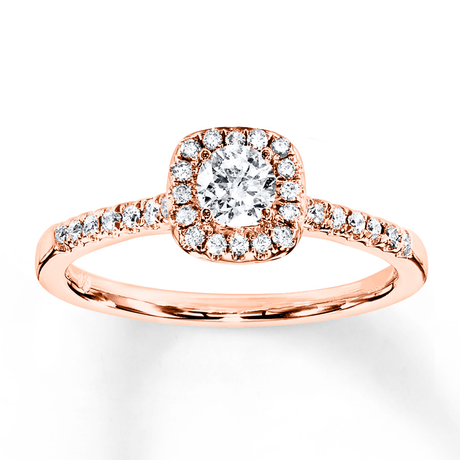 Diamond Engagement Ring 3/8 Ct Tw Round 10K Rose Gold