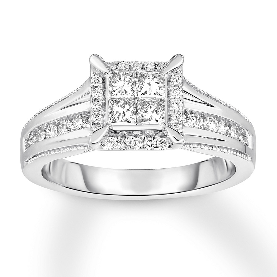 Diamond Engagement Ring 3/4 Ct Tw Princess/Round 14K White