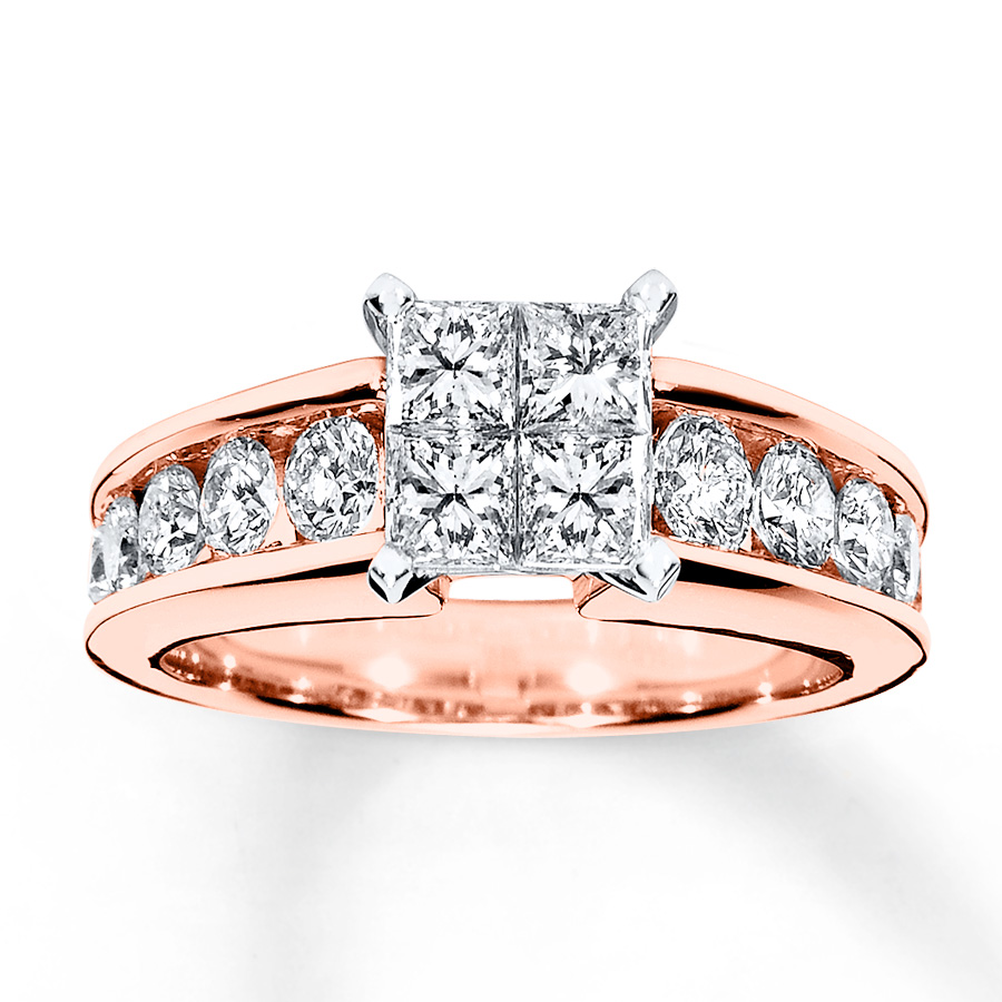 Diamond Engagement Ring 1-3/4 Ct Tw Princess/Round 14K