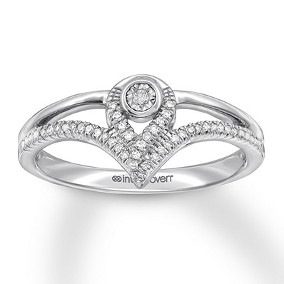 Interwoven Diamond Ring 1/10 ct tw Round-cut Sterling Silver | Tuggl