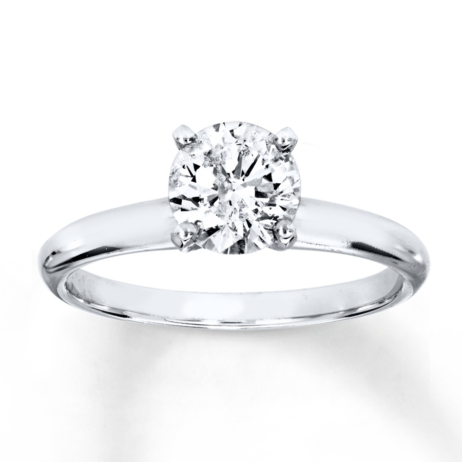 Diamond Solitaire Ring 1 Carat Round-cut 14K White Gold ...