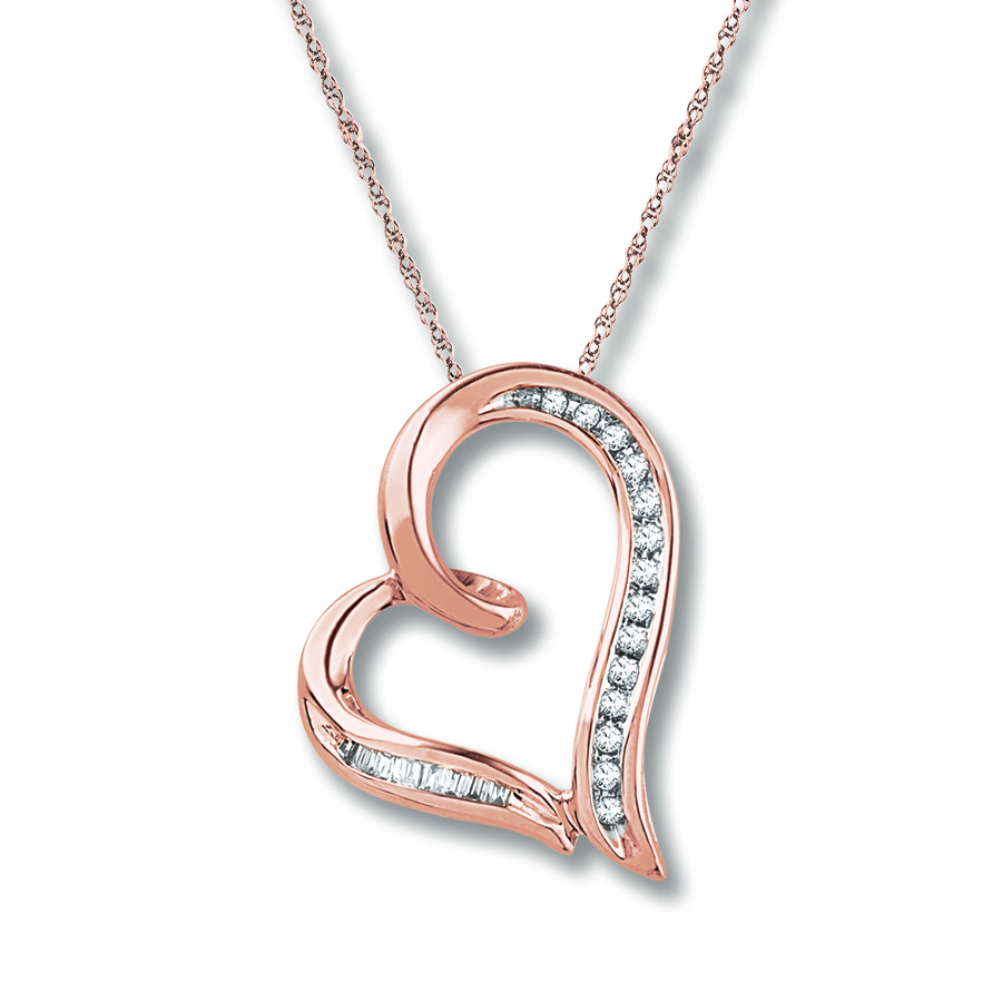 Heart Necklace 1 10 Ct Tw Diamonds 10k Rose Gold