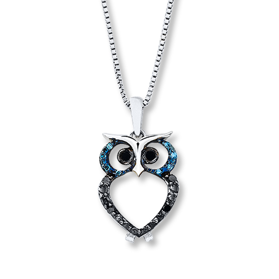 cd10781109 Blue & Black Diamonds 1/15 ct tw Necklace Sterling Silver Owl ...