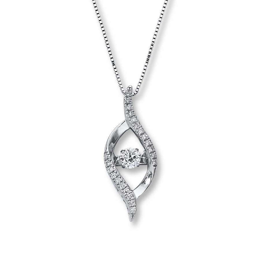 565463d40 Diamonds in Rhythm 1/4 ct tw Necklace 10K White Gold - 172959405 ...