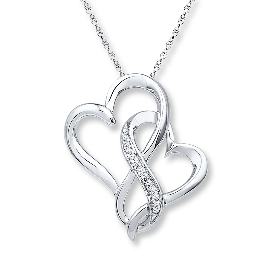Sterlingjewelers Infinity Heart Necklace 1 20 Ct Tw
