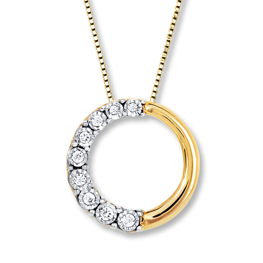30d00e17624 Diamond Circle Necklace 1 15 ct tw Round-cut 10K Yellow Gold. Tap to expand