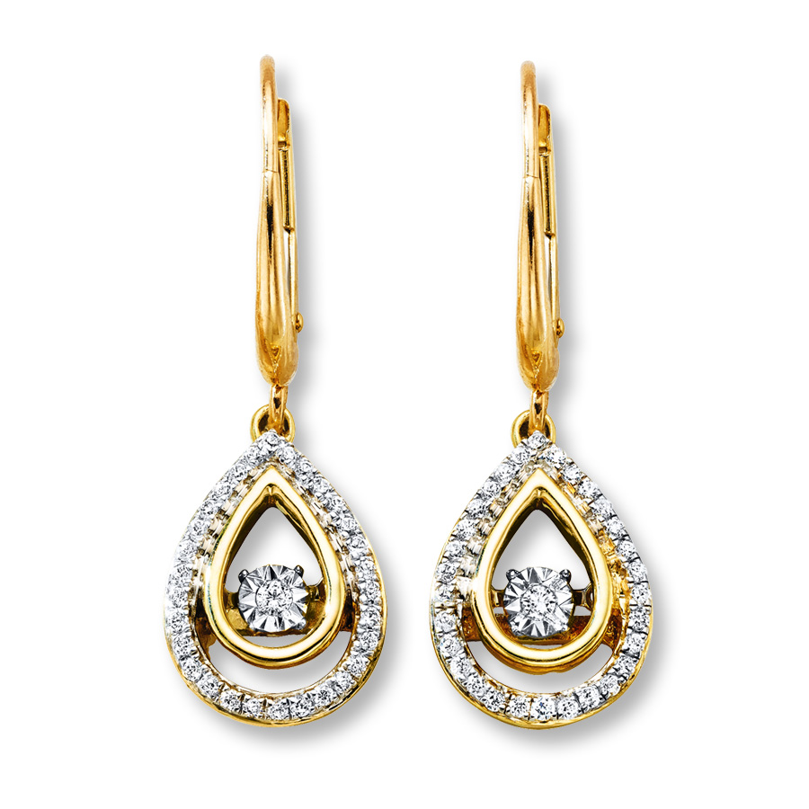 1 5 ct earrings diamonds in rhythm 1 5 ct tw earrings 10k yellow gold 7830