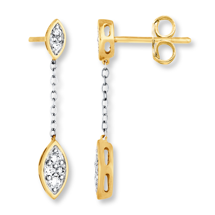 d5395038d Chain Earrings 1/3 ct tw Diamonds 10K Two-Tone Gold - 182053506 ...