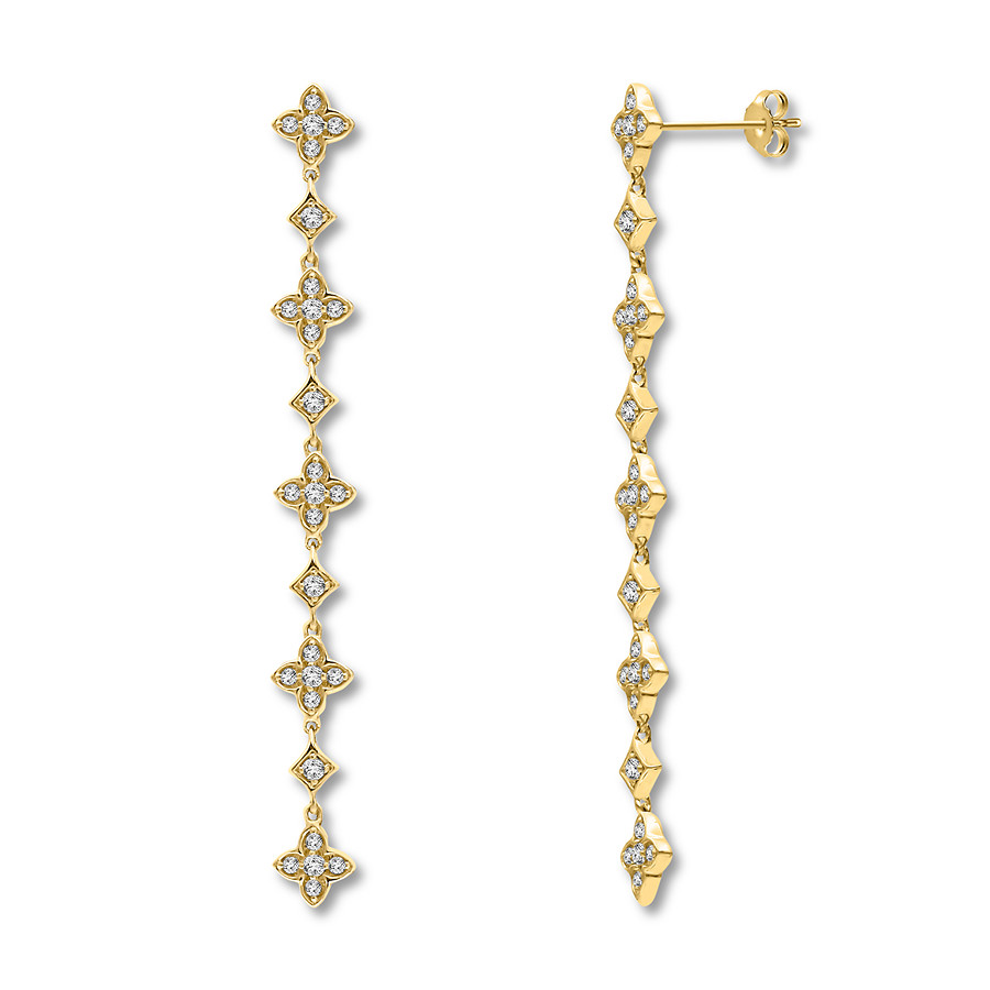 96e68cd3c Diamond Drop Earrings 1/3 ct tw Round-cut 10K Yellow Gold. Tap to expand