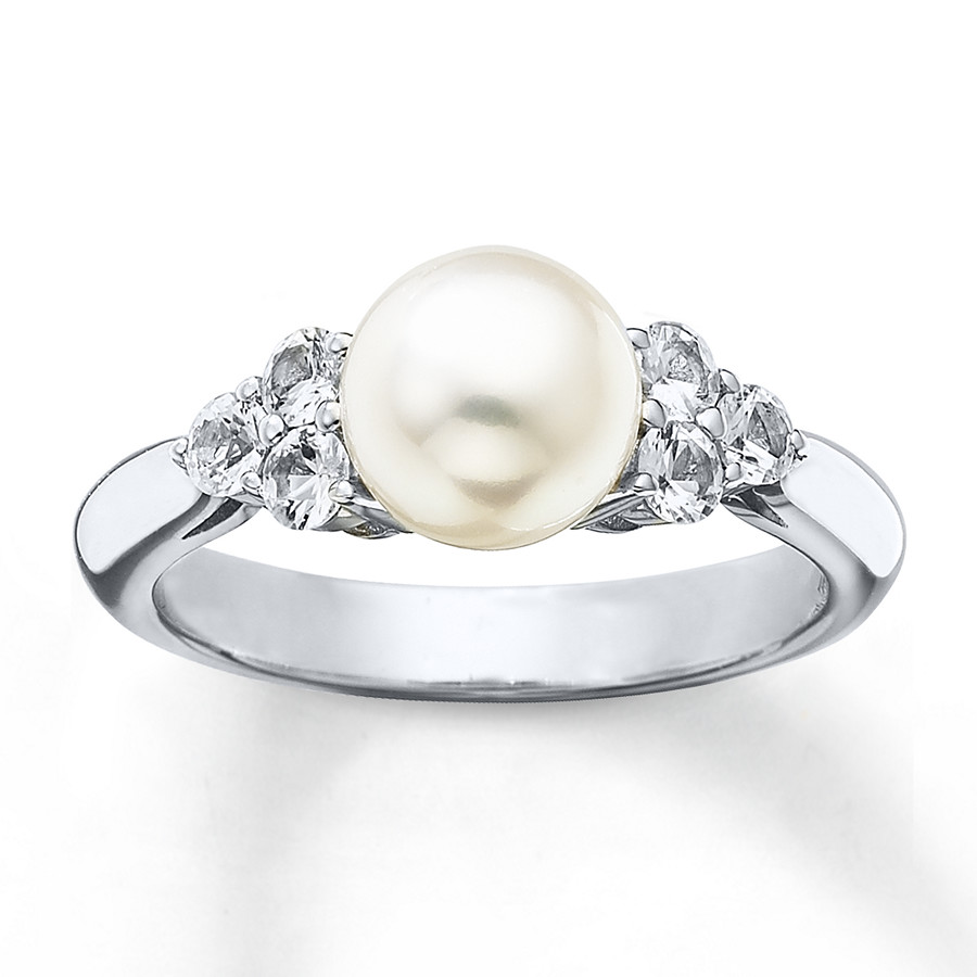 cc2765888868f Cultured Pearl Ring Natural White Sapphires Sterling Silver