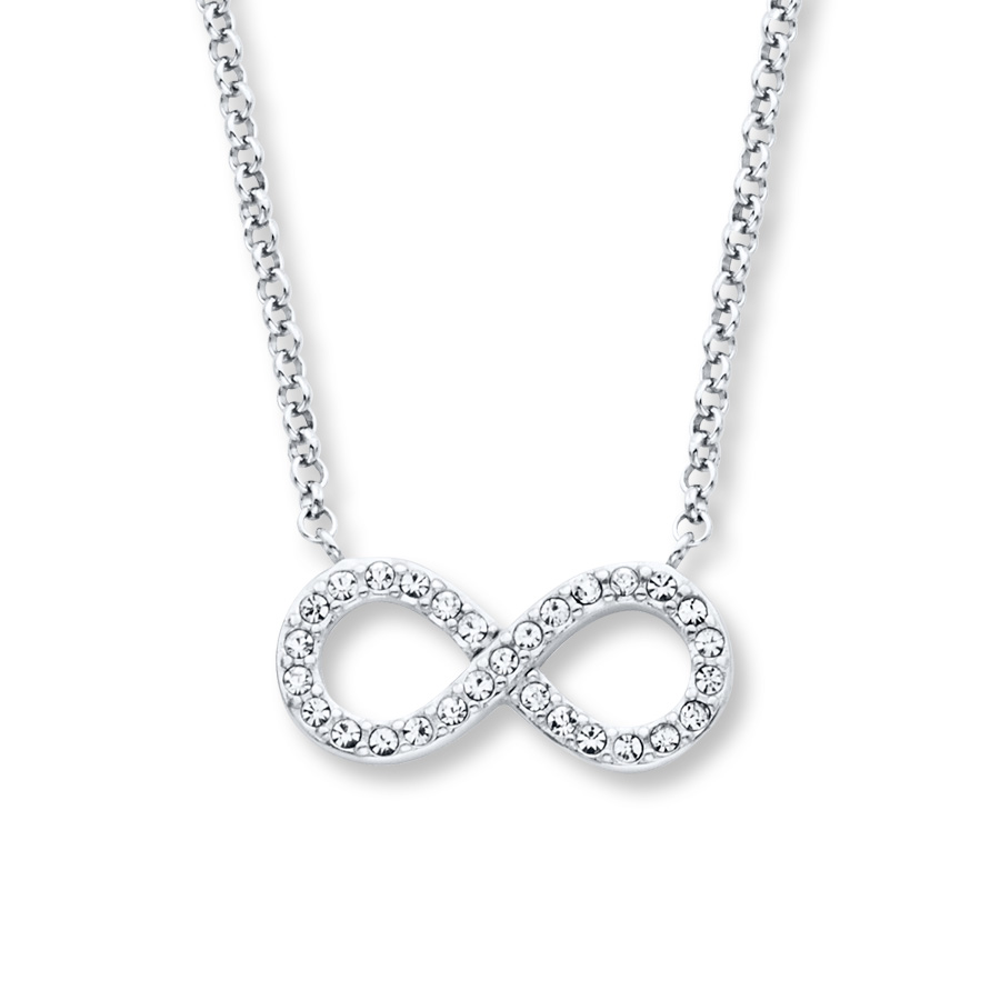 Infinity Symbol Necklace Crystals Sterling Silver 374893600