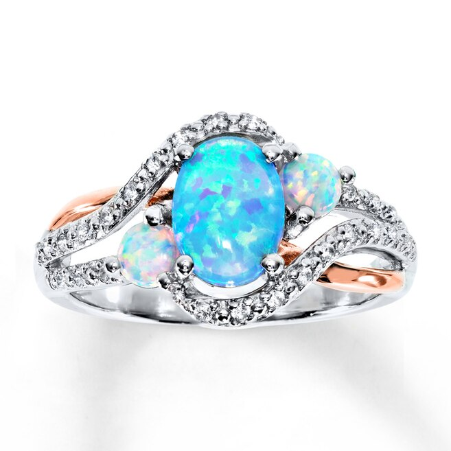 Lab-Created Opal & Lab-Created Sapphire Ring St  Silver/10