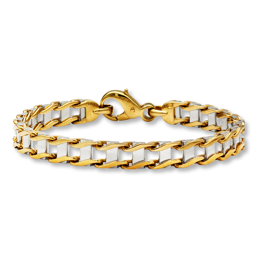 Bold Link Men S Bracelet 10k Two Tone Gold 8 75 Quot Length