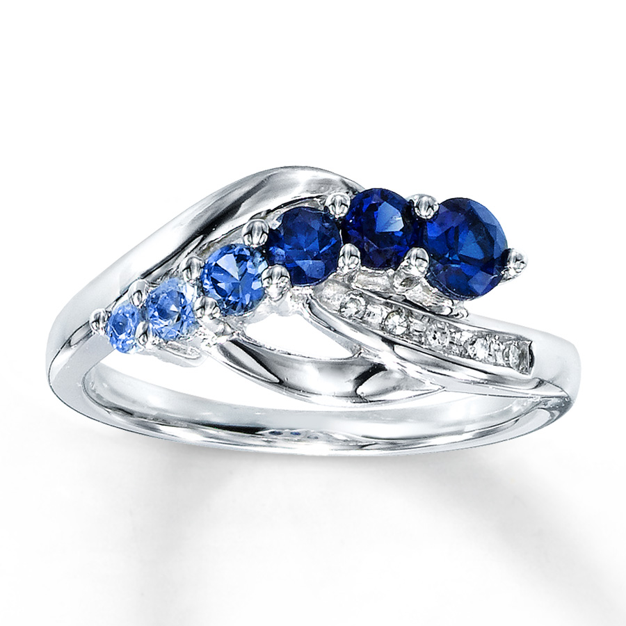 Lab Created Sapphire Ring Diamond Accents Sterling Silver