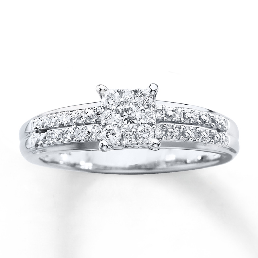 Diamond Engagement Ring 1 4 Ct Tw Round Cut 10k White Gold