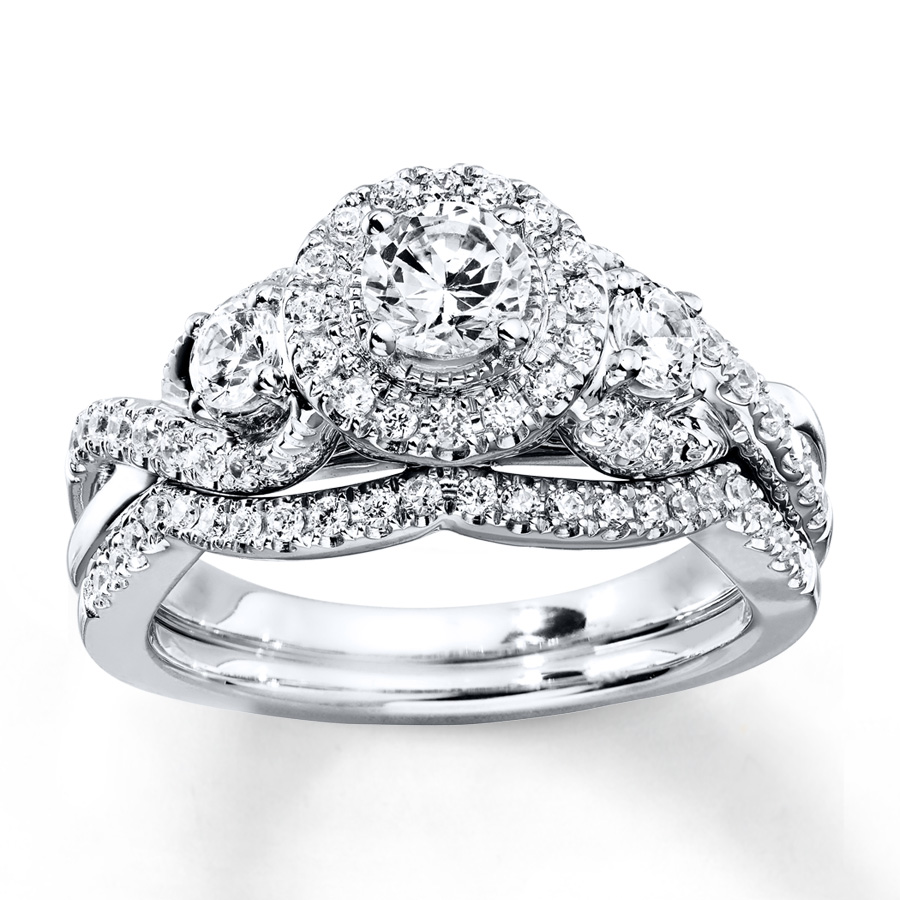 SterlingJewelers Diamond Bridal Set 1 ct tw Round cut 14K White Gold