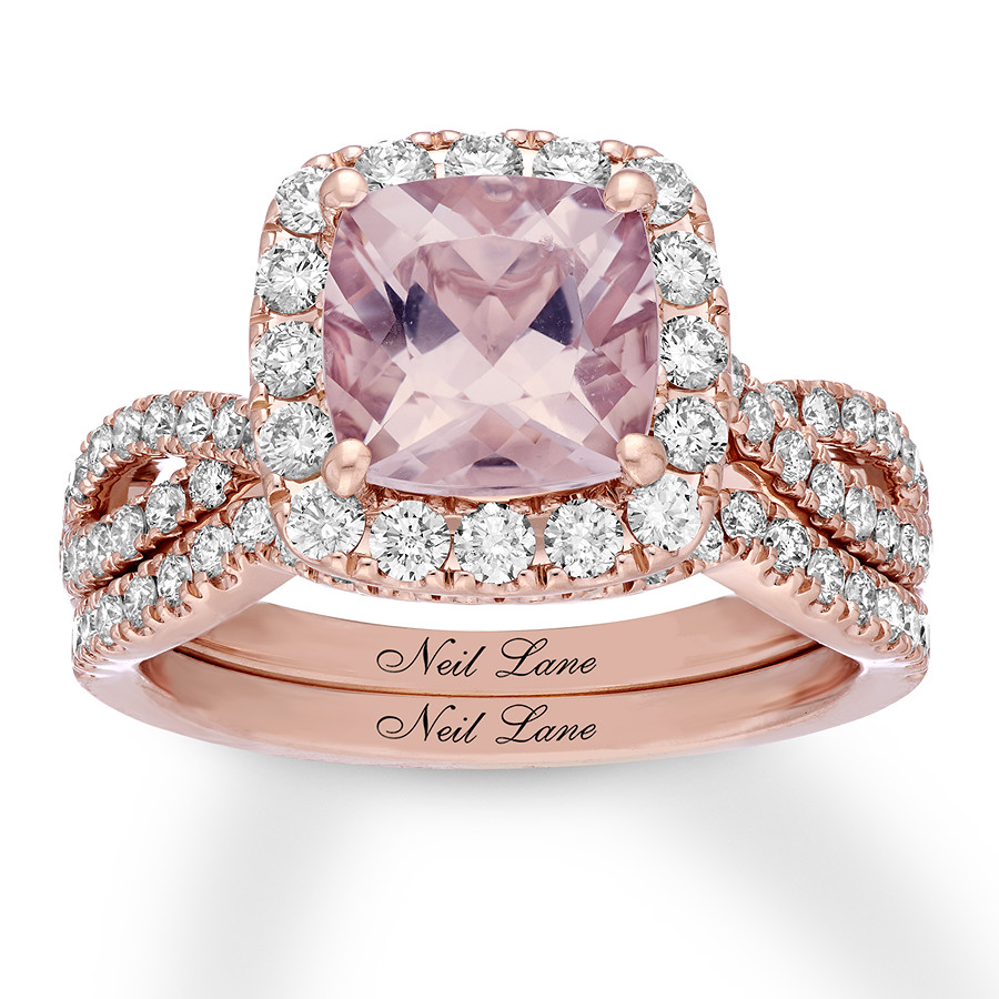 Neil Lane Morganite Bridal Set 1 ct tw Diamonds 14K Rose Gold ...