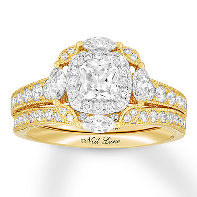 Neil Lane Diamond Bridal Set 1-7/8 ct tw Cushion/Round 14K Gold | Tuggl