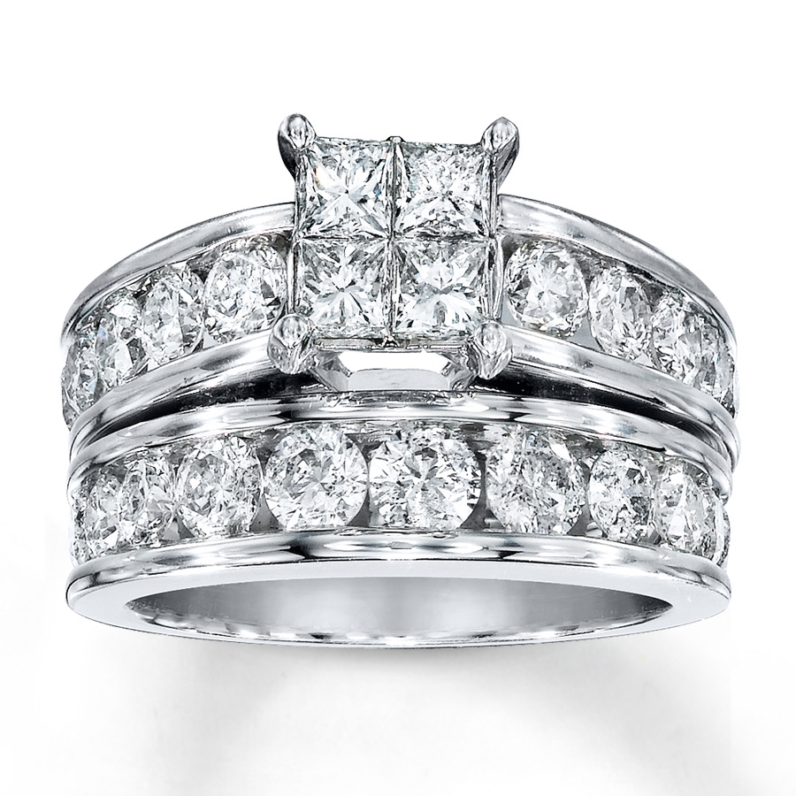 Jared Diamond Bridal Set 3 cttw PrincesscutRound 14K White Gold