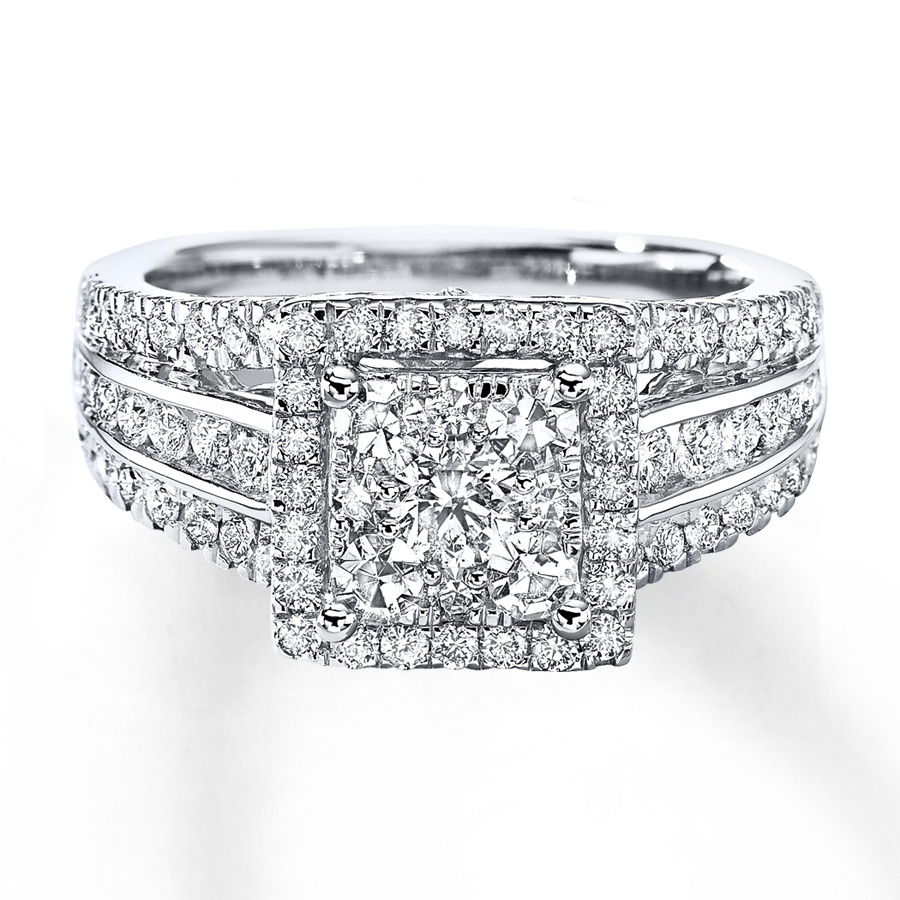 Wedding Rings Kay Jewelry.Diamond Engagement Ring 1 1 2 Cts Tw Round Cut 14k White Gold