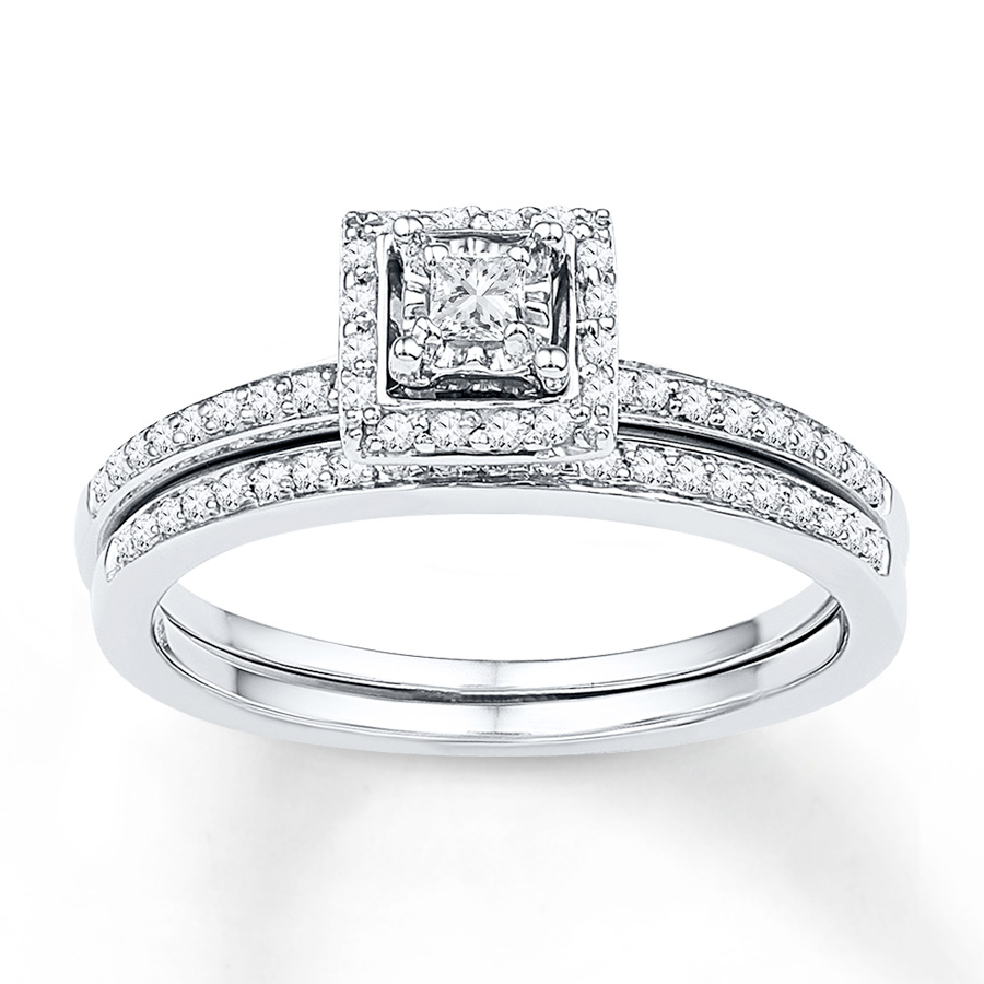 acb8ce2bfeb Diamond Bridal Set 1/4 ct tw Princess-cut 10K White Gold